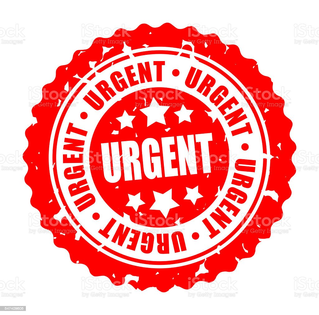 Vector round stamp URGENT stock photo