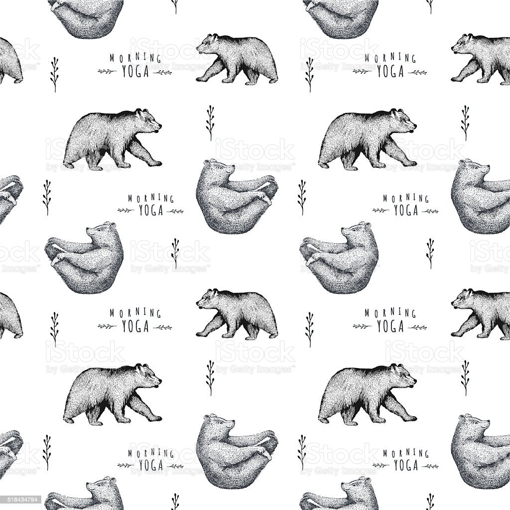 Vector seamless pattern  fun bear isolated on white background. stock photo