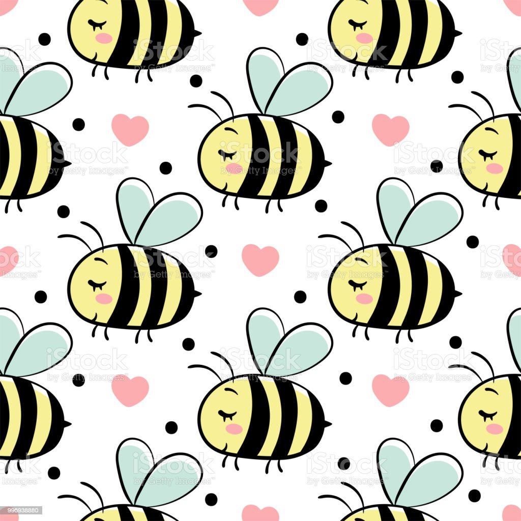Vector seamless pattern with bees in love. stock photo