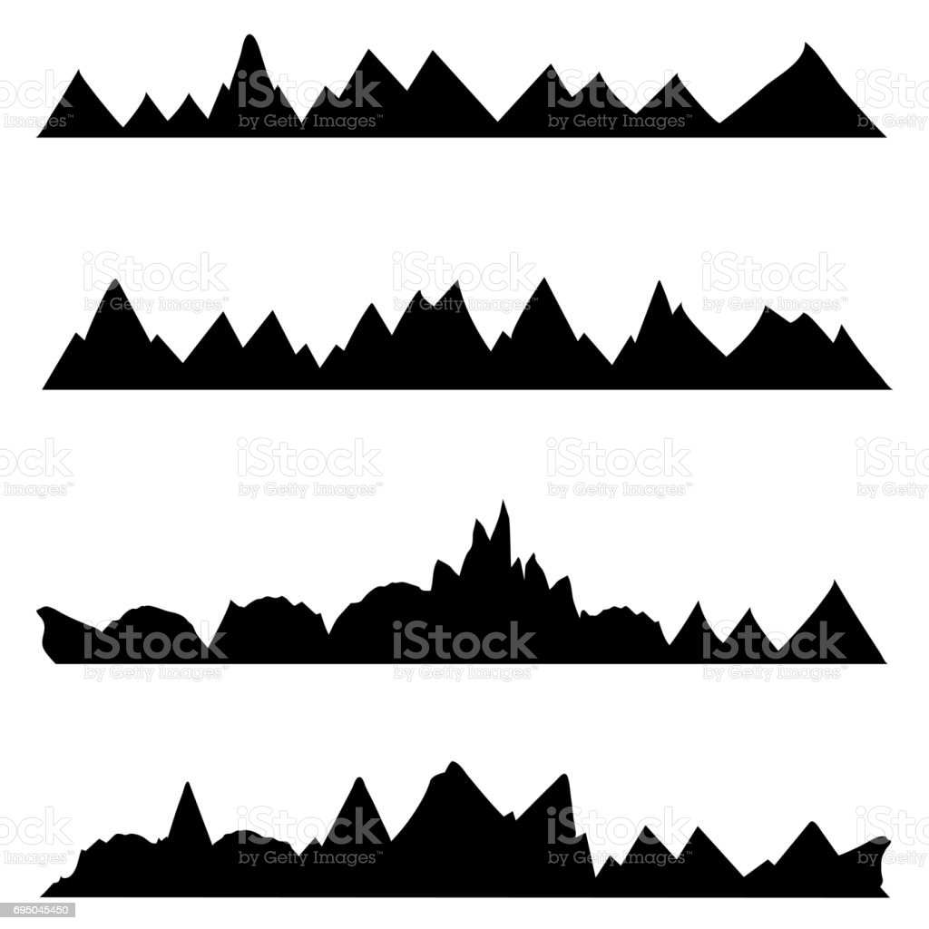 Vector Set of Silhouettes. Chains of Mountains stock photo