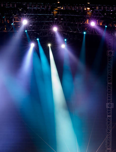 vector stage spotlight with laser rays - stage performance space stock pictures, royalty-free photos & images
