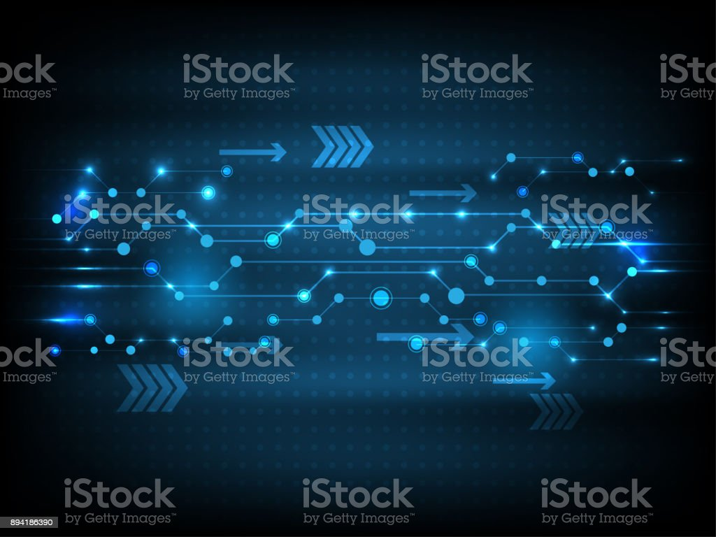 Vector Technology blue futuristic circuit board data, illustration hi-tech modern communication stock photo