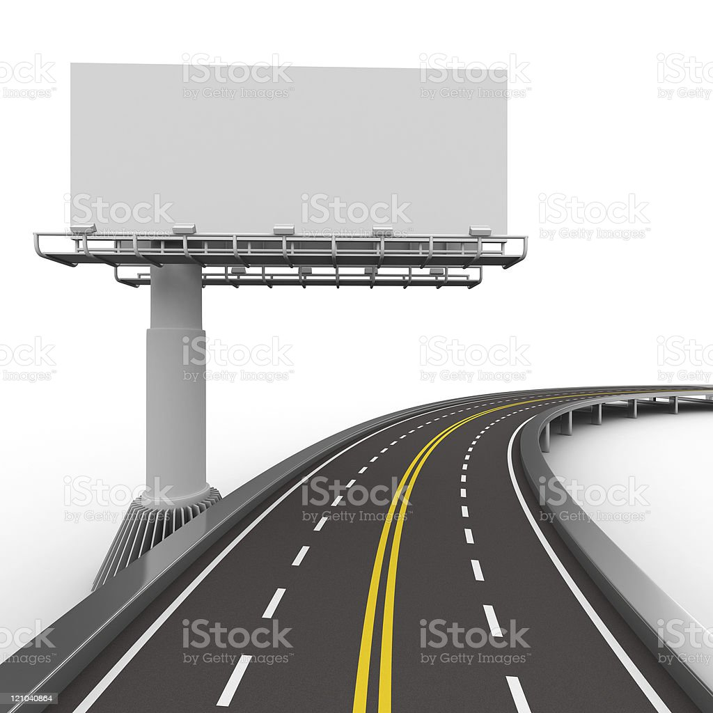 Vectorized image of road and billboard stock photo