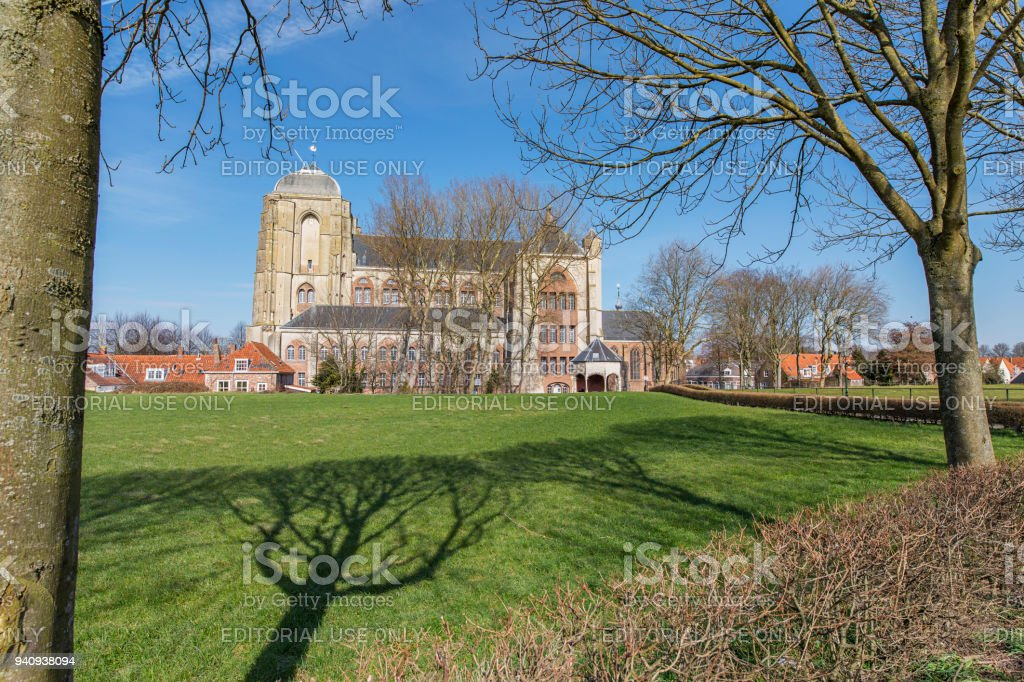 Veere - View to Church of Our Lady with Cistern, the construction started in 13th century and was never completed, Zeeland, Netherlands, Veere, 19.03.2018 stock photo