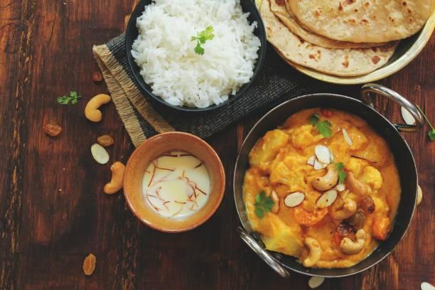 Veg Kolhapuri - Mixed vegetables in thick spiced gravy from Kolhapur, Maharashtra,India stock photo