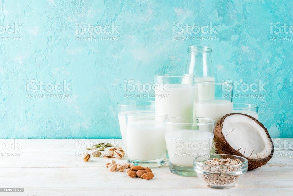 Vegan alternative non-dairy milk stock photo