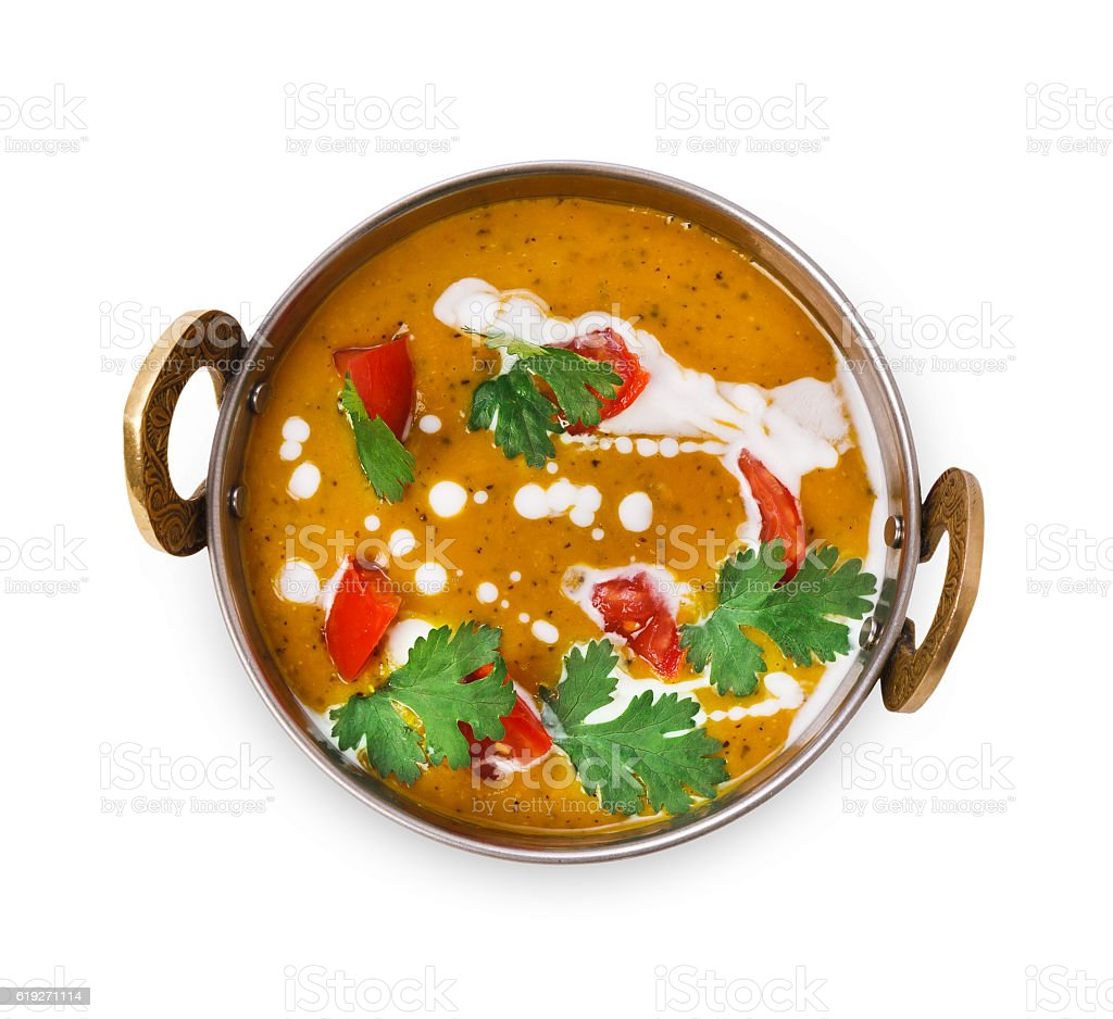 Vegan and vegetarian indian cuisine dish, spicy lentil dahl soup - foto de stock