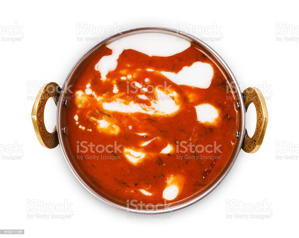 Vegan and vegetarian indian cuisine dish, spicy tomato creamy soup stock photo