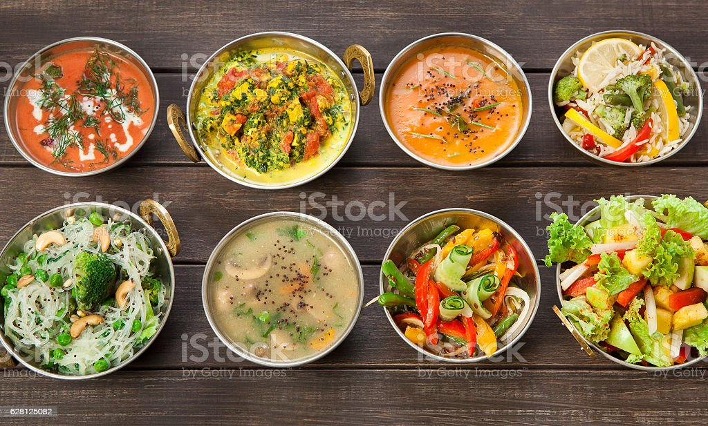 Vegan and vegetarian indian cuisine hot spicy dishes stock photo
