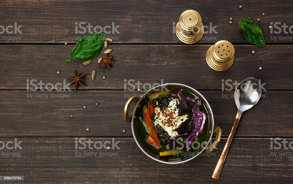 Vegan and vegetarian indian restaurant dish, spicy rice with vegetables stock photo