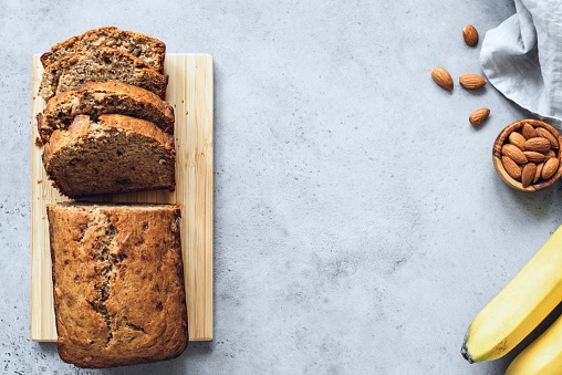 Vegan Banana Bread On Concrete Background