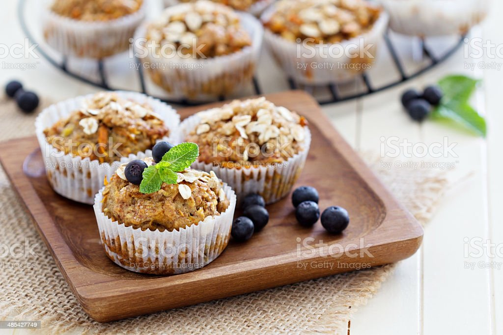 Vegan banana carrot muffins stock photo