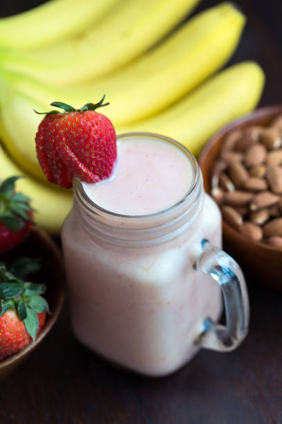 Vegan Banana Strawberry Almond Smoothie stock photo