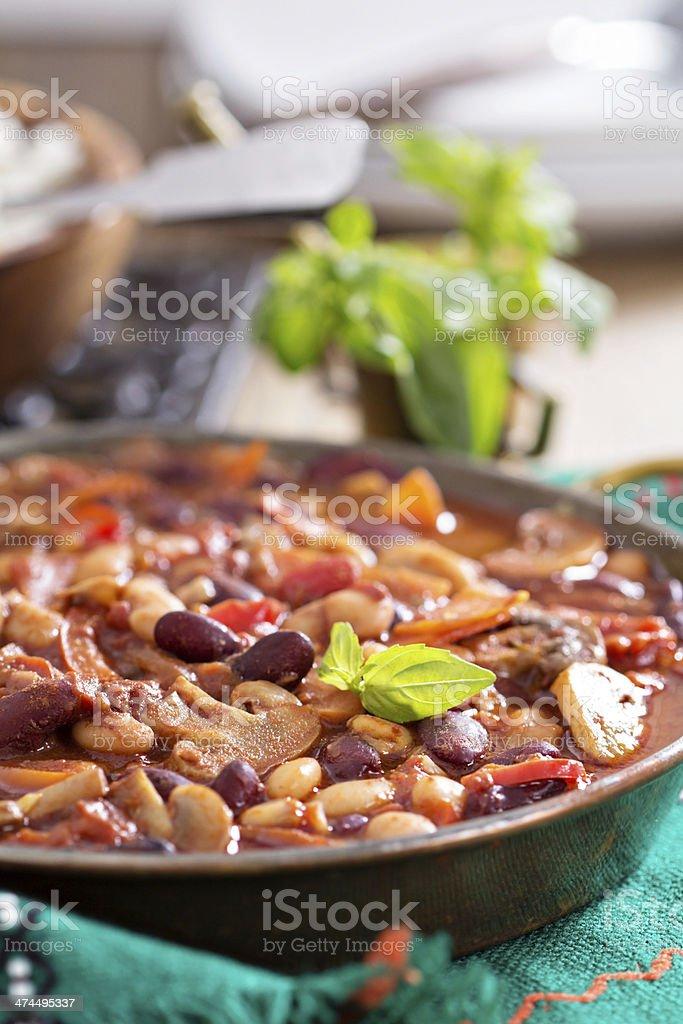 Vegan bean chili stock photo