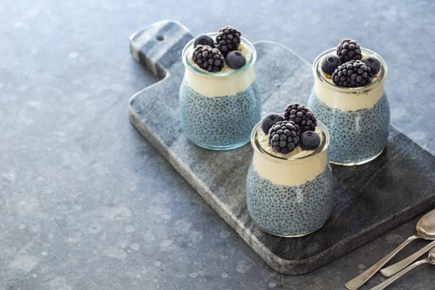 vegane blau spirulina chia pudding mit schlagsahne kokos-creme und gefrorene beeren - chia samen pudding stock-fotos und bilder