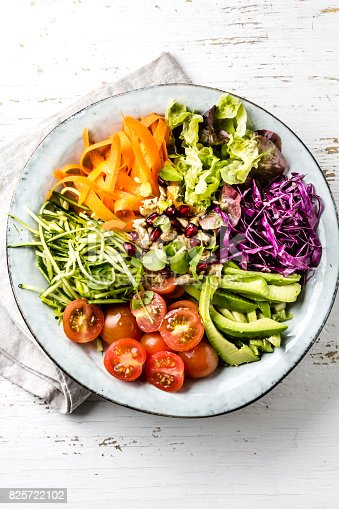 istock Vegan buddha bowl. Bowl with fresh raw vegetables - cabbage, carrot, zucchini, lettuce, watercress salad, tomatoes cherry and avocado, nuts and pomegranate 825722102
