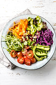 Vegan buddha bowl. Bowl with fresh raw vegetables - cabbage, carrot, zucchini, lettuce, watercress salad, tomatoes cherry and avocado, nuts and pomegranate on white background