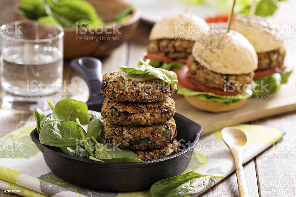 Vegan burgers with beans and vegetables stock photo