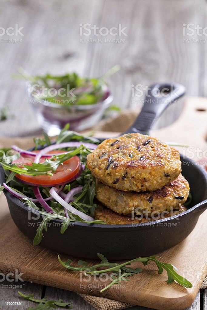 Vegan burgers with quinoa and vegetables stock photo