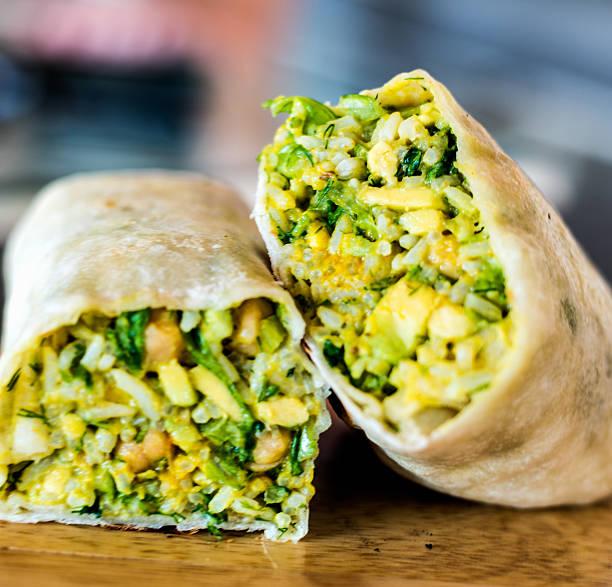 vegan burrito - veggie wraps stock-fotos und bilder