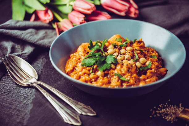 Vegan Chana Alu Masala stock photo