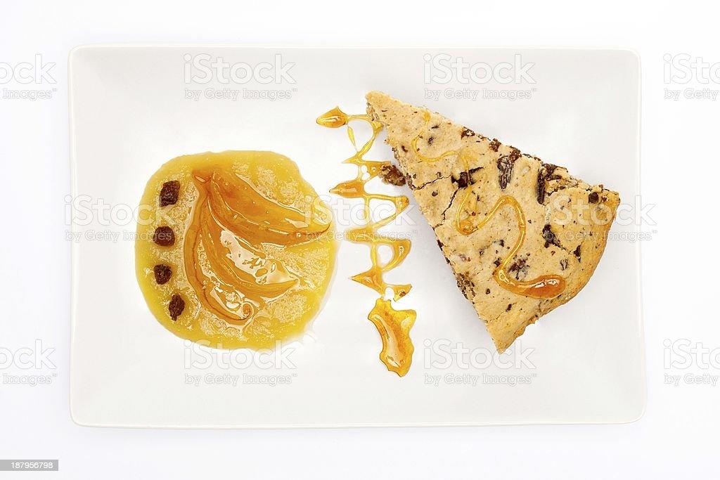 Vegan chocolate, cranberries and almond cake (top view) stock photo