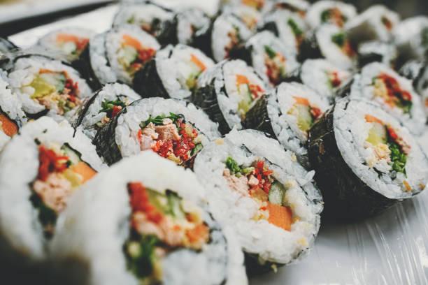 Vegan cuisine:Organic vegan sushi rolls stock photo