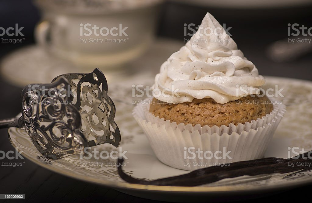 Vegan Cupcake with Creme Topping. royalty-free stock photo