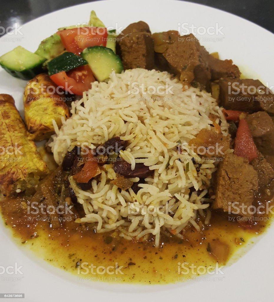 Vegan Curry Goat - Seitan stock photo