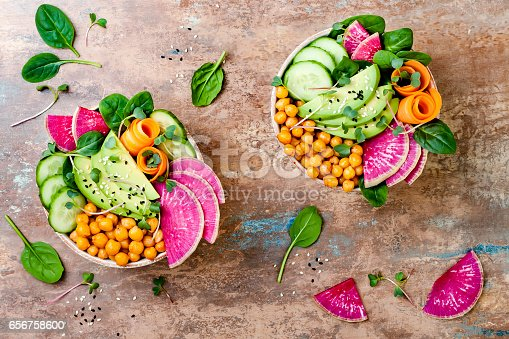 istock Vegan, detox Buddha bowl recipe with avocado, carrots, spinach, chickpeas and radishes. Top view, flat lay, copy space 656758600