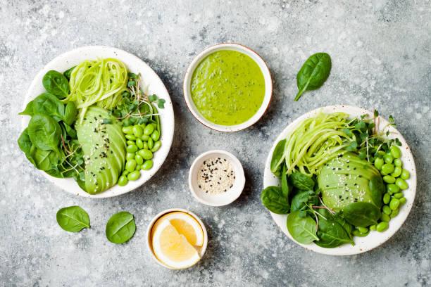 vegan, detox buddha schüssel mit avocado, spinat, mikro grüns, edamame bohnen, zucchini nudeln und grünen kräuterdressing. ansicht von oben, graue konkrete hintergrund - spaghetti mit spinat stock-fotos und bilder