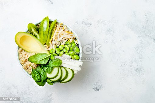 istock Vegan, detox green Buddha bowl recipe with quinoa, avocado, cucumber, spinach, tomatoes, mung bean sprouts, edamame beans, daikon radish. Top view, flat lay, copy space 846782312