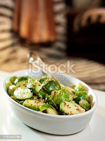 Vegan dish with Brussel sprouts and quinoa