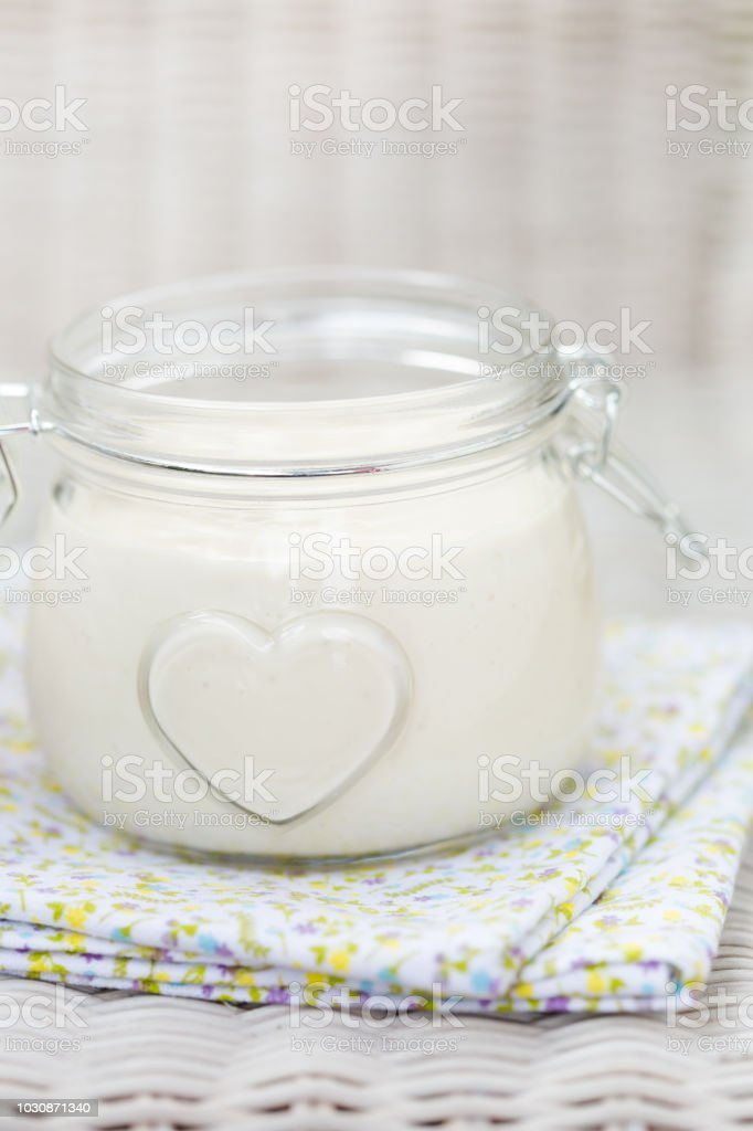 Vegan diy homemade eggfree mayonaise stock photo