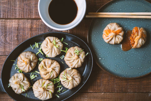 Vegan dumplings stock photo