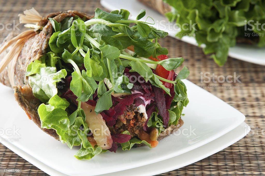 Vegan Falafel Wrap on White Plates stock photo