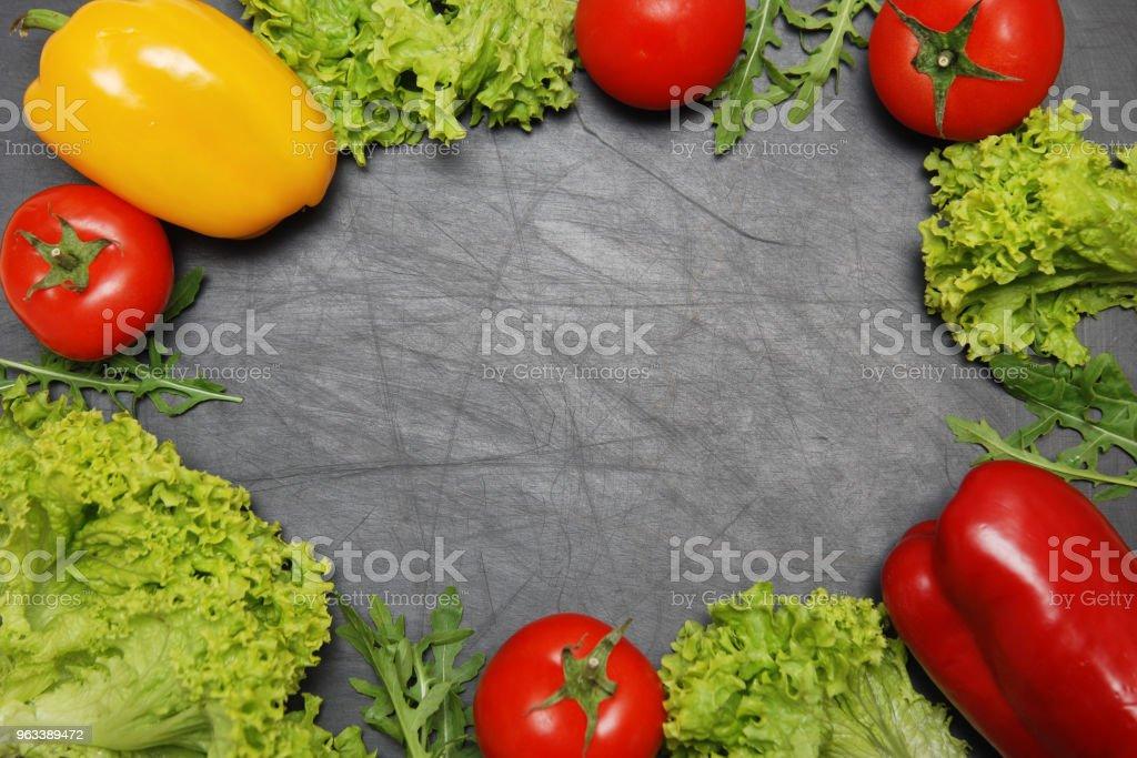 Vegan Food Frame. Salad, Vegetables Black Chalk Board Background Copy Space. Healthy, Vegan Vitamine Food. - Zbiór zdjęć royalty-free (Bezglutenowy)