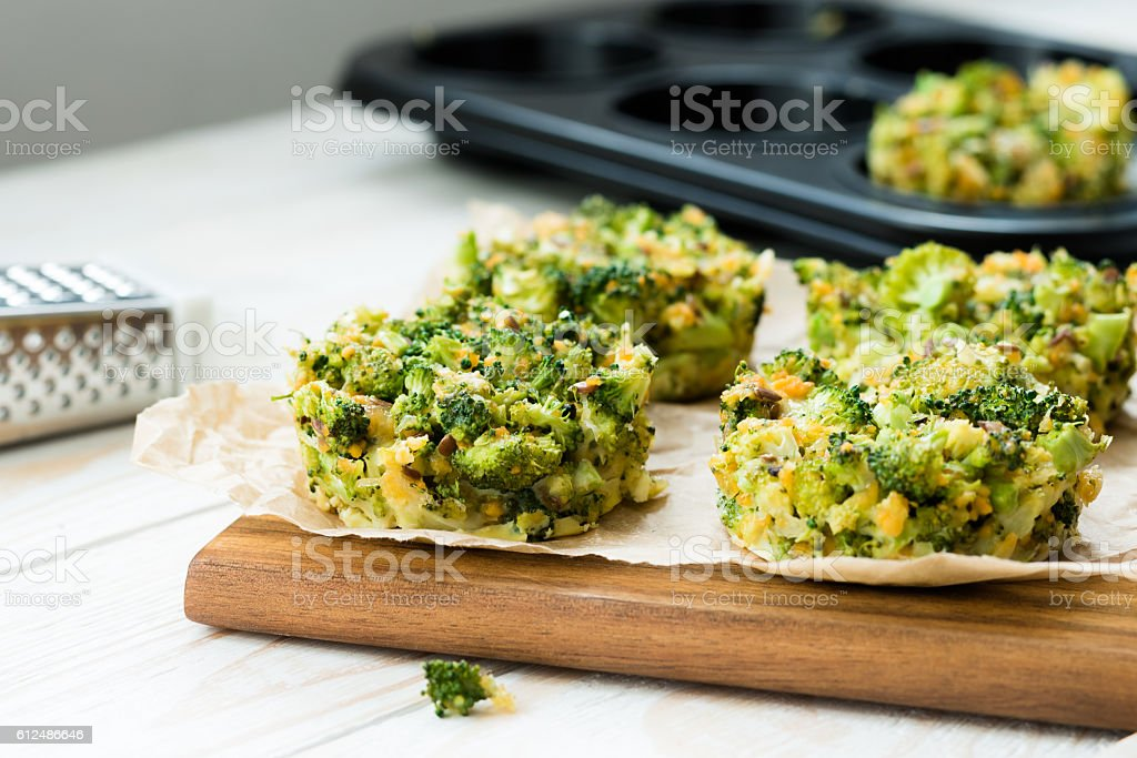 Vegan food - omelet with broccoli and cheese stock photo