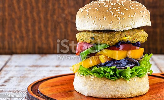 Vegetarian burger, Sandwich made without meat. It can be made from corn, potatoes, textured soy protein, legumes, tofu, mushrooms or cereals.