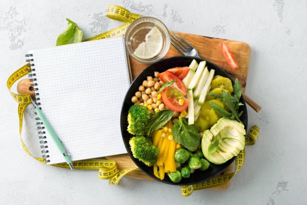 wegańska zdrowa zbilansowana dieta wegetariańska miska buddy z pustym notatnikiem i taśmą pomiarową. hickpeas, brokuły, pieprz, pomidor, szpinak, rukola i awokado w talerzu na białym tle. widok z góry - kapustowate zdjęcia i obrazy z banku zdjęć