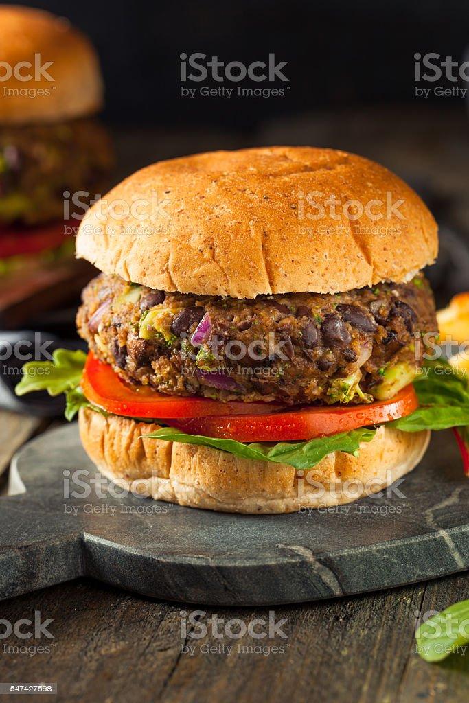 Vegan Homemade Portabello Mushroom Black Bean Burger stock photo