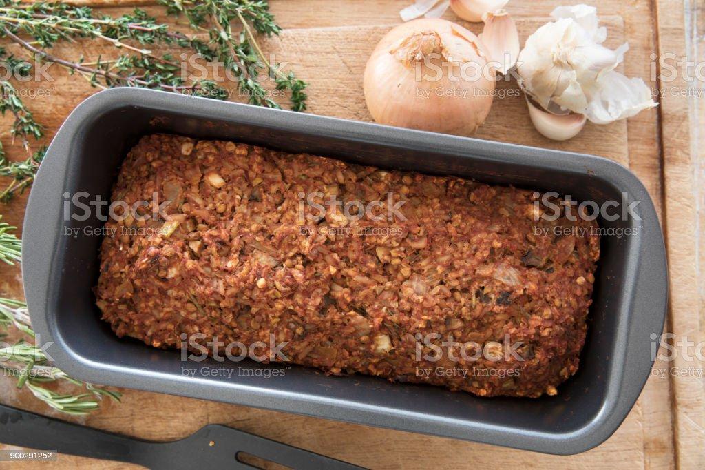 Vegan Lentil Loaf in Pan stock photo