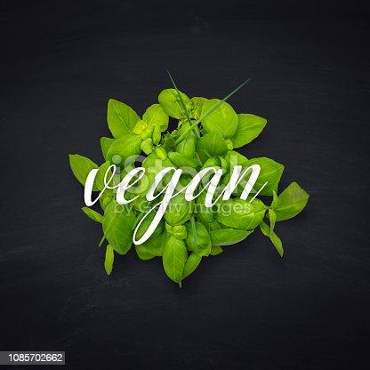 Vegan eating concept. Vegan, Vegetarian Food, Vegetable, Salad on a blackboard with copy space for design