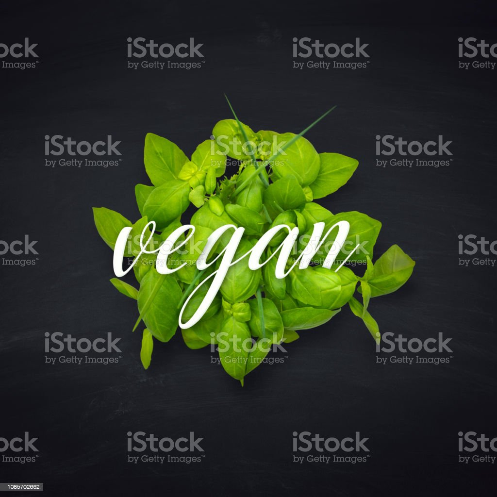 vegan lifestyle healthy eating salad on blackboard stock photo