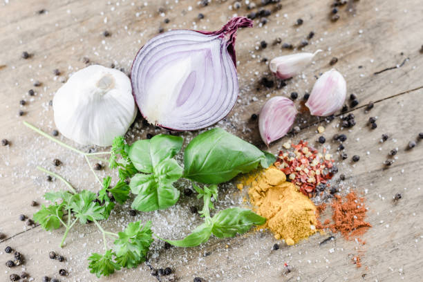 Vegan meal ingredients on wooden table. stock photo