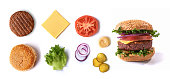 vegan meatless burger ingredients isolated on white background. top view