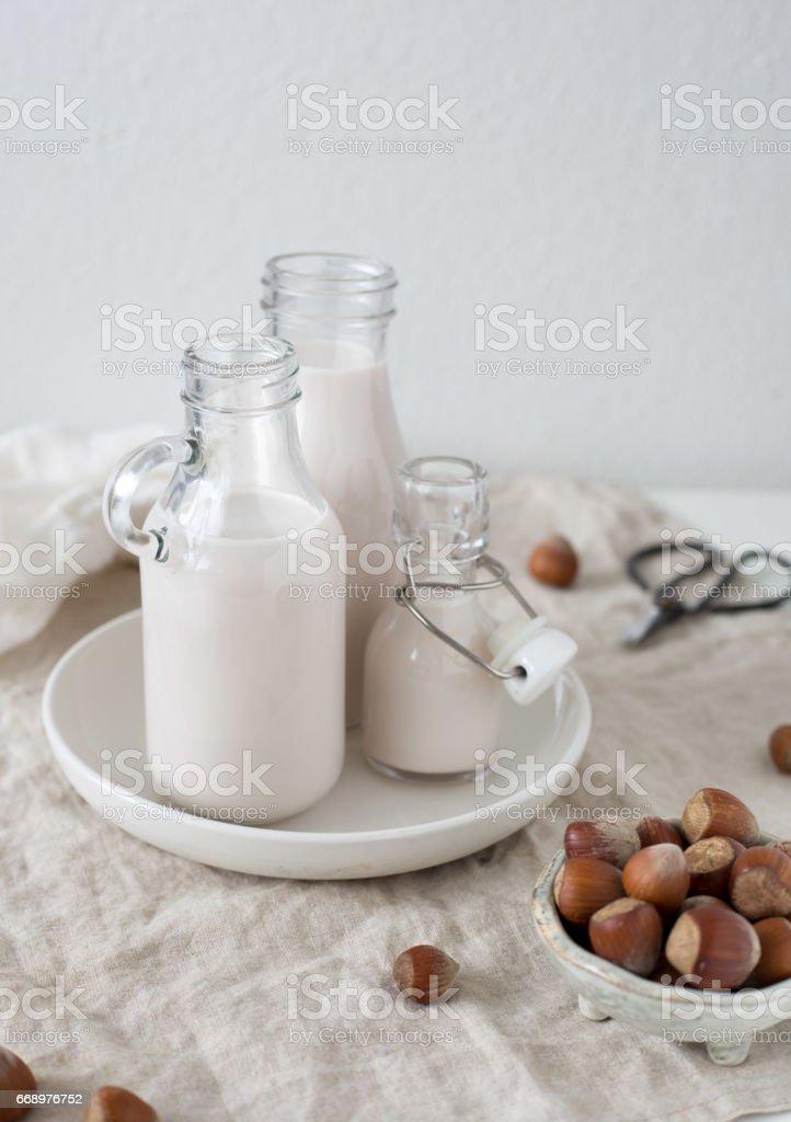 Vegan milk from nuts in glass jar. Hazelnut vegetarian drink on white rustic background foto stock royalty-free