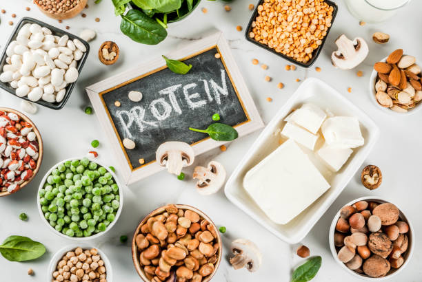 vegan  protein sources - protein stock photos and pictures