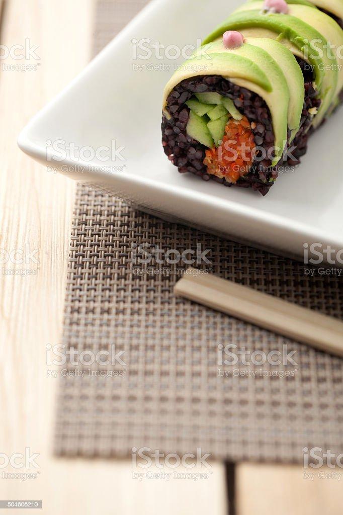 Vegan Quinoa California Sushi Roll stock photo
