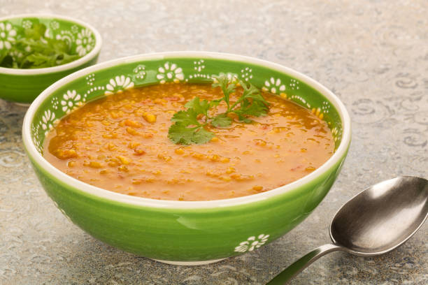 Vegan red lentil soup with coriander. stock photo